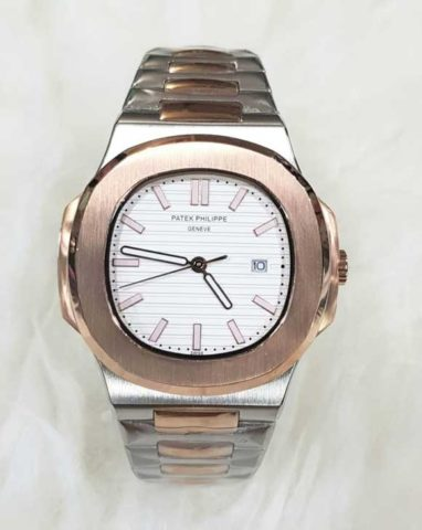 Patek philippe nautilus stainless batre silver rosegold white4.2cm