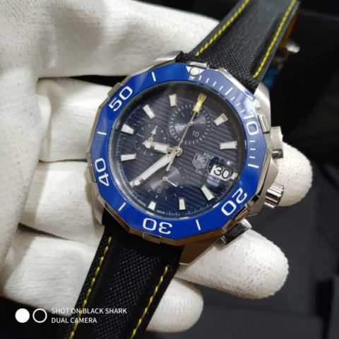 Tagheuer Aquaracer chrono leather silver blue dial 45mm 480x480 Jam Tangan Tag Heuer Aquaracer Blue Chrono Leather