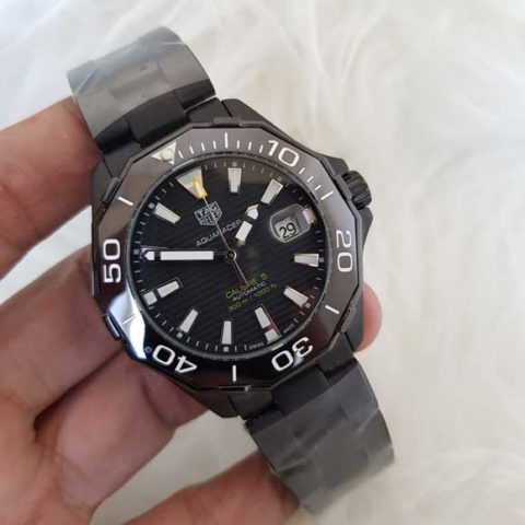 Tagheuer aquaracer calibre 5 stainless steel full black 480x480