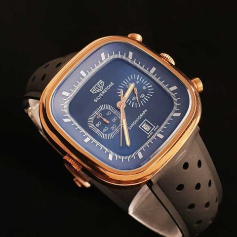 Tagheuer silverstone rosegold blue rubber black