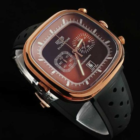 Tagheuer silverstone rosegold brown rubber black