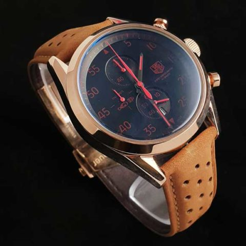 Tagheuer space x red brown leather