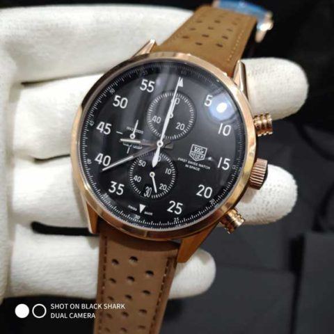 Tagheuer space x white brown leather