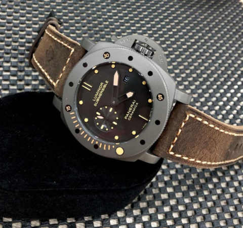 Luminor PANERAI SUBMERSIBLE CERAMICA all stainless steel warna motif 2 strap leather matic replica 4 8cm 480x450 Jam Tangan Luminor Panerai Ceramica Leather KW Super Premium