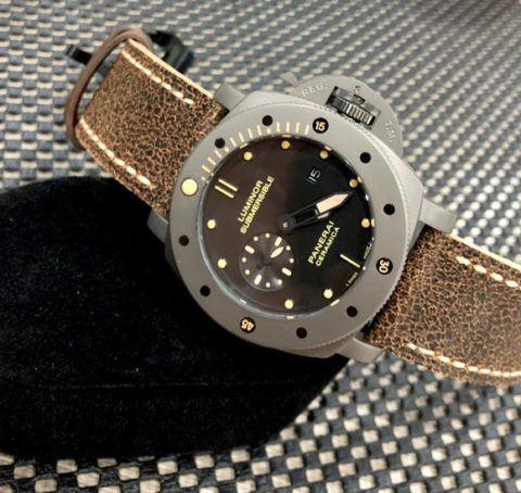 Luminor PANERAI SUBMERSIBLE CERAMICA all stainless steel warna titan strap leather matic kw super4 8cm 480x454 Jam Tangan Luminor Panerai Ceramica Leather KW Super Premium