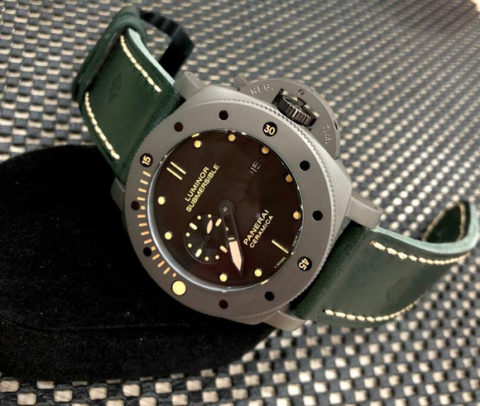 PANERAI SUBMERSIBLE CERAMICA all stainless steel warna kulit hijau automatic kw super premium 4.8cm
