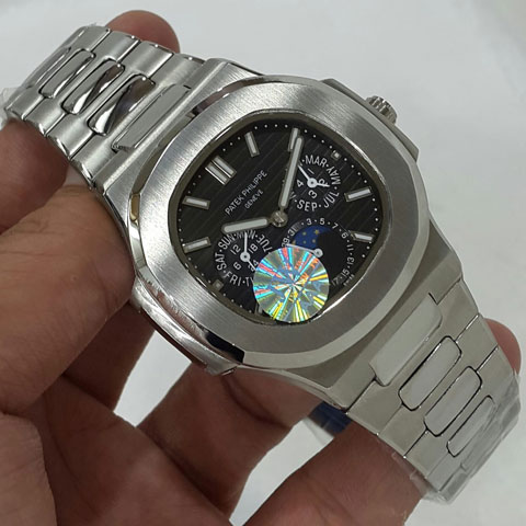 Patek philippe nautilus day moon date silver black dial automatic4 2cm Jam Tangan Patek Philippe PP9603 All Time Date Moon Day