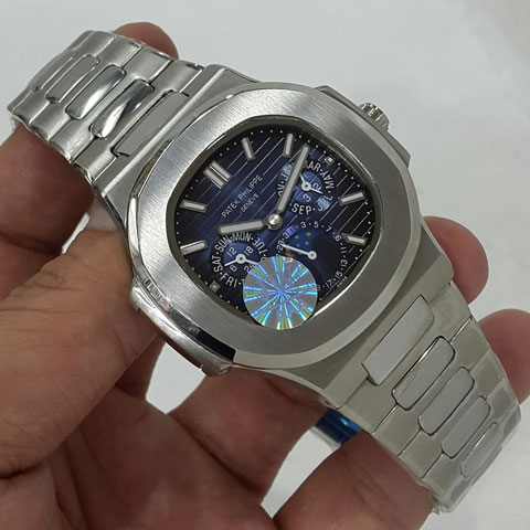 Patek philippe nautilus day moon date silver blue dial automatic 4 2cm Jam Tangan Patek Philippe PP9603 All Time Date Moon Day