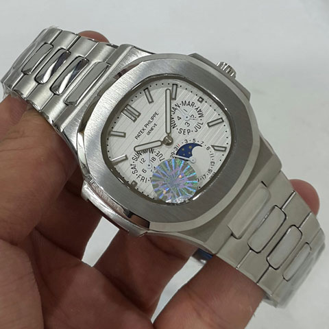 Patek philippe nautilus day moon date silver white dial automatic4 2cm Jam Tangan Patek Philippe PP9603 All Time Date Moon Day