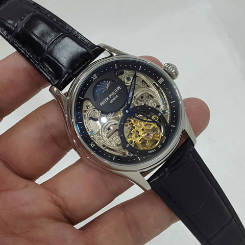 Patek philippe tourbillon black leather silver automatic 4 2cm Jam Tangan Patek Philippe PP9754 Tourbilon Silver
