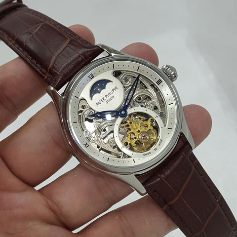 Patek philippe turbillon brown leather silver matic 4 3cm Jam Tangan Patek Philippe PP9754 Tourbilon Silver