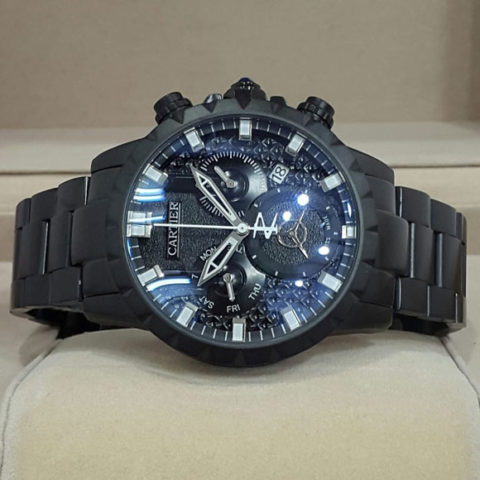 Cartier Divers men chrono black chain 4.5cm