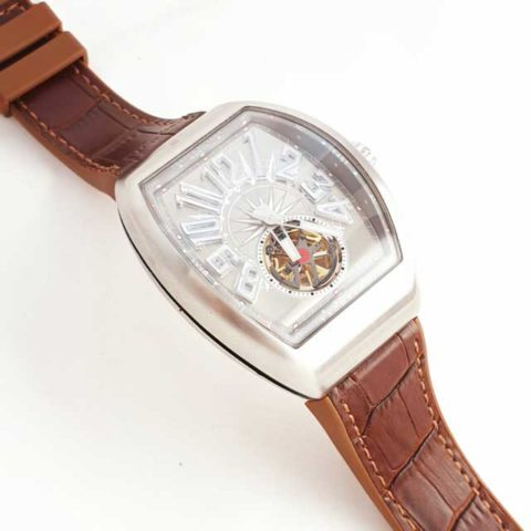 Franck Muller Yachting tourbillon men leather blend rubber matic silver brown4.6cm