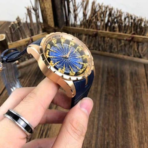Roger Dubuis 47cm all stainless steel otomatis rosegold blue