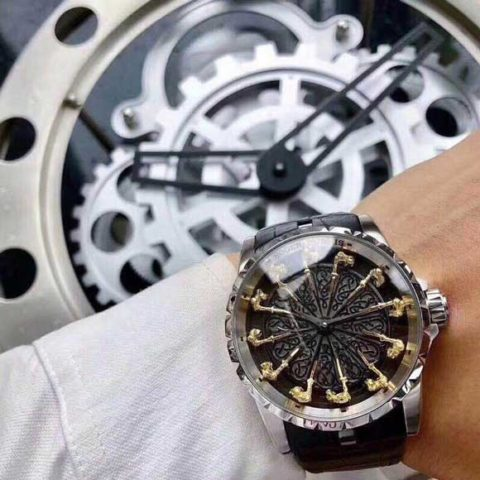 Roger Dubuis 47cm all stainless steel otomatis silver black 480x480