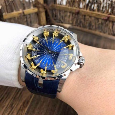 Roger Dubuis 47cm all stainless steel otomatis silver blue 480x480