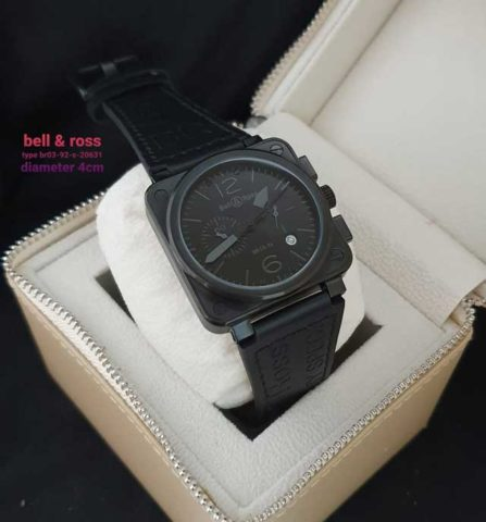 Bell Ross Kotak tali kulit full black super